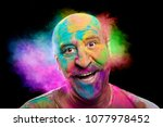 portrait of bald cheerful man... | Shutterstock . vector #1077978452