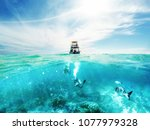Scuba Divers Underwater And...