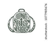big bag. silhouette of a... | Shutterstock .eps vector #1077985676