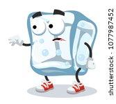 cartoon scared ice cube mascot... | Shutterstock .eps vector #1077987452