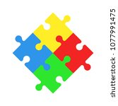 puzzles icon. jigsaw. world... | Shutterstock .eps vector #1077991475