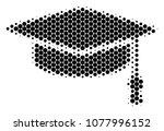 halftone dot graduation cap... | Shutterstock .eps vector #1077996152