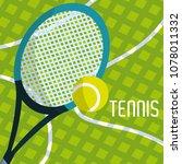 tennis racket and ball | Shutterstock .eps vector #1078011332
