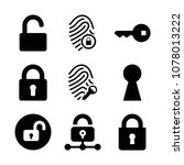 set of 9 lock filled icons such ... | Shutterstock .eps vector #1078013222