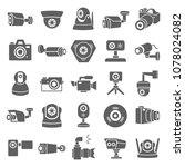camera icon set in trendy flat...