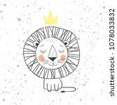 hand drawn king lion for kids t ... | Shutterstock . vector #1078033832
