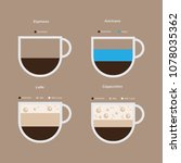 set types of coffee. espresso... | Shutterstock .eps vector #1078035362