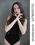 beautiful girl in swimsuit...   Shutterstock . vector #1078055732