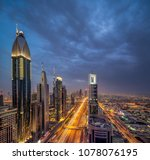skyscapers on sheik zayed road... | Shutterstock . vector #1078076195