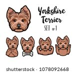 yorkshire terrier dog.... | Shutterstock .eps vector #1078092668