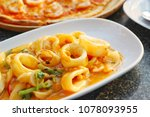 stir fried squid with salted... | Shutterstock . vector #1078093955