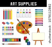 art supplies  colored pencils ... | Shutterstock .eps vector #1078112882