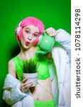 vivid funny girl with pink hair ... | Shutterstock . vector #1078114298