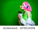 trendy vivid girl with pink... | Shutterstock . vector #1078114358