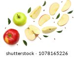 green and red apples with... | Shutterstock . vector #1078165226