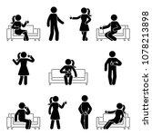 stick figure man and woman... | Shutterstock . vector #1078213898
