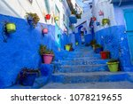 traditional old blue street...   Shutterstock . vector #1078219655