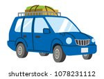 blue car loaded luggage | Shutterstock .eps vector #1078231112