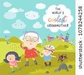 grandmother with her happy... | Shutterstock .eps vector #1078244258