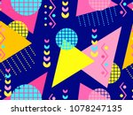 memphis seamless pattern.... | Shutterstock .eps vector #1078247135