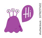 cute violet monster with three... | Shutterstock .eps vector #1078257632