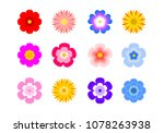 set of flat icon flower icons...   Shutterstock .eps vector #1078263938
