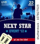 concert poster with a singer | Shutterstock .eps vector #107827025