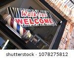 barbershop sign in window | Shutterstock . vector #1078275812