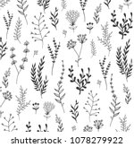 hand drawn floral and herb... | Shutterstock .eps vector #1078279922