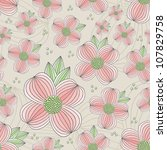 seamless dogwood blossom pattern   Shutterstock .eps vector #107829758