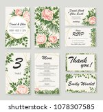 set wedding invitation with... | Shutterstock .eps vector #1078307585