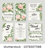 set wedding invitation with... | Shutterstock .eps vector #1078307588