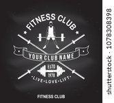 fitness club badge on the... | Shutterstock .eps vector #1078308398