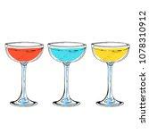cocktail colrful set set hand... | Shutterstock .eps vector #1078310912
