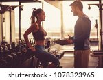 woman and fitness instructor... | Shutterstock . vector #1078323965