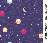 universe with planets and stars ... | Shutterstock .eps vector #1078332905
