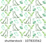 Stock vector dog cat bird and fish seamless vector background 107833562