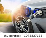 ev car or electric car at... | Shutterstock . vector #1078337138
