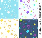 collection of bright seamless... | Shutterstock .eps vector #1078337492
