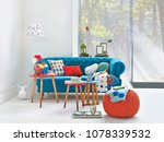 decorative living room with... | Shutterstock . vector #1078339532
