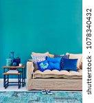 modern turquoise living room... | Shutterstock . vector #1078340432