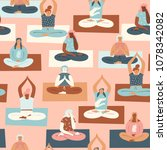 yoga group with people...   Shutterstock .eps vector #1078342082