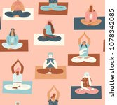 yoga group with people... | Shutterstock .eps vector #1078342085