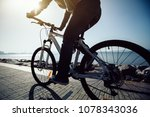 silhouette cyclist riding bike... | Shutterstock . vector #1078343036