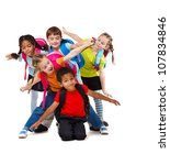 group of school aged kids with... | Shutterstock . vector #107834846