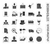 cargo shipping glyph icons set. ... | Shutterstock . vector #1078348838