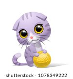 Stock vector lilac kitten with ball of threads vector 1078349222