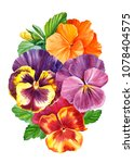 bouquets of colored pansies... | Shutterstock . vector #1078404575