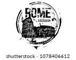 rome  colosseum. italy city... | Shutterstock .eps vector #1078406612