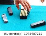 gun bullets and magazine. hand... | Shutterstock . vector #1078407212